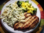 Grilled Chicken Breast w/Fettucine Alfredo and Broccoli with Cheese Sauce