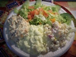Cold Salad Plate: Chicken Salad, Tuna Salad, Egg Salad, Pasta Salad, Pasta and Tuna, and Potato Salad