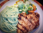 Grilled Chicken Breast w/Spaghetti in a Green Poblano sauce and Steamed Vegetables